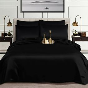 Glorious 6pc Satin Silk Complete Set-Duvet cover, fitted sheets and 4pillowcases