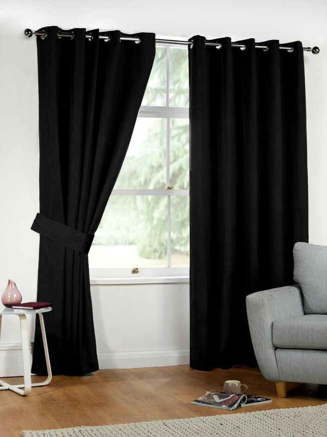 Thermal Insulated Pair of Blackout Curtains Eyelet Ring Top with 2 Free Tiebacks