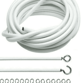 Net Curtain Wire White Window Cord Cable With FREE HOOKS & EYES Choose Lengths